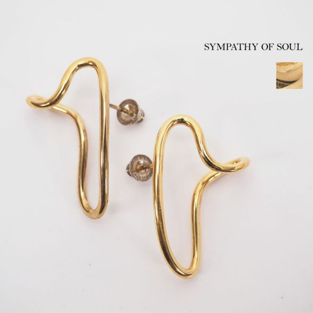 【40%OFF】SYMPATHY OF SOUL シンパシーオブソウル ピアス 変形 ピアス 真鍮 ゴールドメッキ DripPierce 1904gp|アクセサリー 19SS