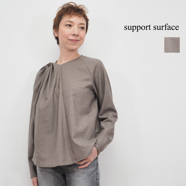 【19AW新作】Support Surface サポートサーフェス FCD20A231 TKO0164 サポート サーフェス ドレープ チェックブラウス | 秋冬 トップス 19AW
