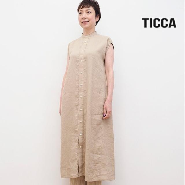 クリアランス【40%OFF】TICCA ティッカ TBAS-406 リネン ノーカラーフレンチスリーブシャツワンピース | 春夏 21SS