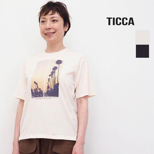 4/21販売開始【21SS新作】TICCA ティッカ TBAS-445 Palm tree プリントTシャツ   トップス 春夏 21SS