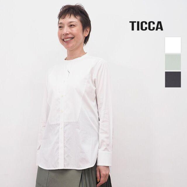 【20AW新作】TICCA ティッカ TBKA-131 ビブヨークシャツ ノーカーラー コットン | 20AW トップス 秋冬