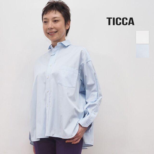 TICCA ティッカ TBKA-141 スクエアビッグシャツ  ホワイト/サックスブルー | 20AW トップス 秋冬