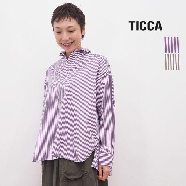 【20AW新作】TICCA ティッカ TBKA-151 ストライプ スクエアビッグシャツ | 20AW トップス 秋冬
