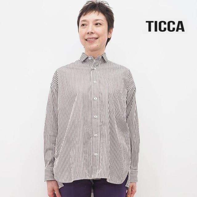 【40%OFF】TICCA ティッカ TBKA-151 ストライプ スクエアビッグシャツ | 20AW トップス 秋冬