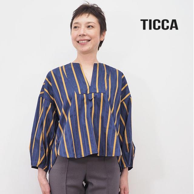 【40%OFF】TICCA ティッカ TBKA-181 ストライプキーネックシャツ    20AW トップス 秋冬