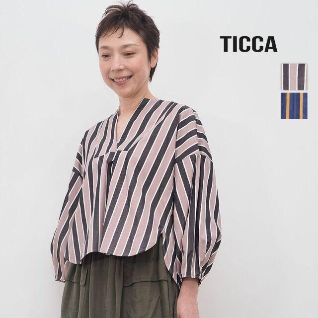 【20AW新作】TICCA ティッカ TBKA-181 ストライプキーネックシャツ  | 20AW トップス 秋冬