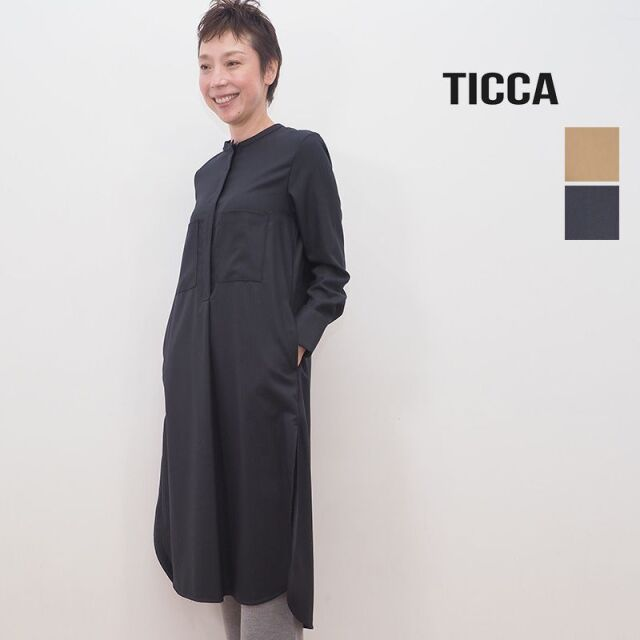 【20AW新作】TICCA ティッカ TBKA-213 へリンボーン ノーカラーウールシャツワンピース | 20AW 秋冬