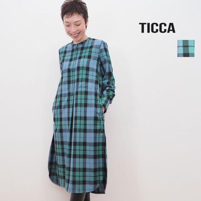 【20AW新作】TICCA ティッカ TBKA-221 チェック ノーカラーウールシャツワンピース   20AW 秋冬