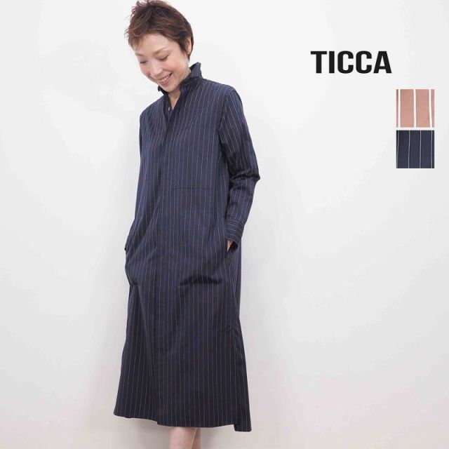 ★【20SS新作】TICCA ティッカ TBKS-051 ストライプヒヨクシャツワンピース | 20SS 春夏