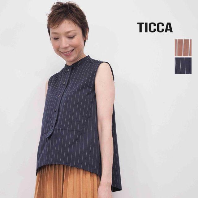 ★【20SS新作】TICCA ティッカ TBKS-053 ストライプノースリーブシャツプルオーバー | 20SS トップス 春夏