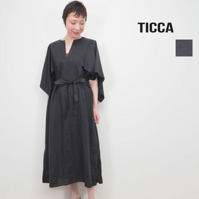 【20SS新作】TICCA ティッカ TBKS-604 フレアスリーブ リネンワンピース | 20SS 春夏