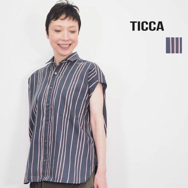 【20SS新作】TICCA ティッカ TBKS-644 ストライプ バックレースアップフレンチスリーブシャツ | 20SS トップス 春夏