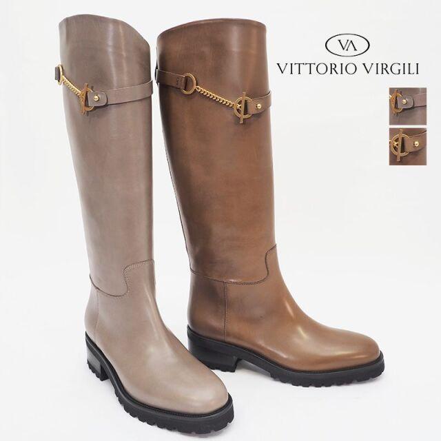 VITTORIO VIRGILI ヴィットリオヴィルジリ VD3648A レザーロングブーツ ジョッキーブーツ チェーン | 20AW シューズ 秋冬