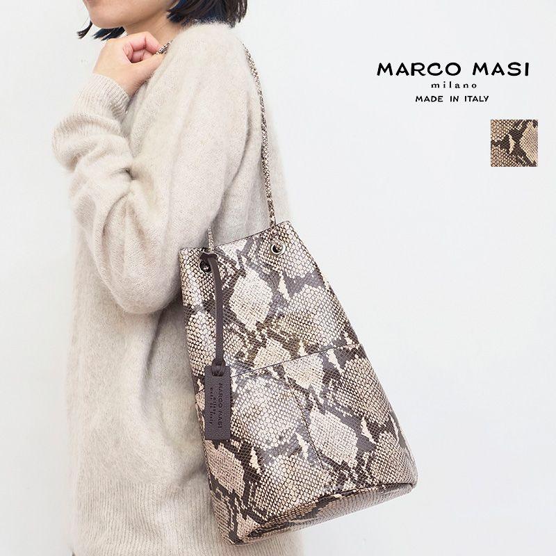 9/8販売開始【21AW新作】MARCO MASI マルコマージ 2836 SLANG ROCCIA パイソン型押しレザー巾着バッグ 大   21AW バッグ 秋冬