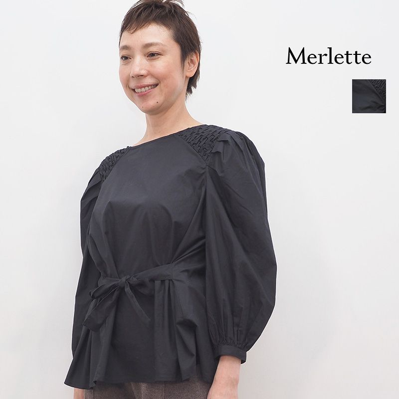【20AW新作】Merlette マーレット 3210700068 82E44PO ハンドスモックショルダーブラウス コットン ブラック | 20AW トップス 秋冬