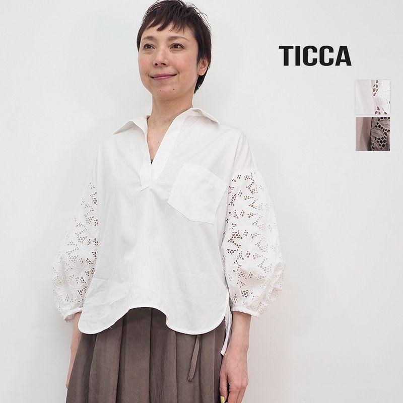2/13販売開始【21SS新作】TICCA ティッカ TBAS-153 レースパフスリーブブラウス  花柄 刺繍 スキッパーシャツ | トップス 春夏 21SS