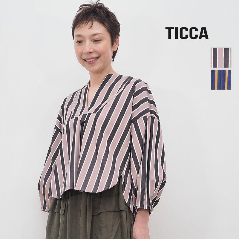 【20AW新作】TICCA ティッカ TBKA-181 ストライプキーネックシャツ    20AW トップス 秋冬