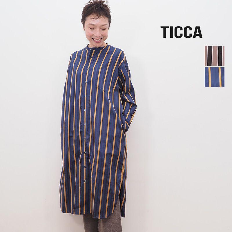 【20AW新作】TICCA ティッカ TBKA-184 ストライプ ノーカラースクエアビッグロングシャツ | 20AW トップス 秋冬