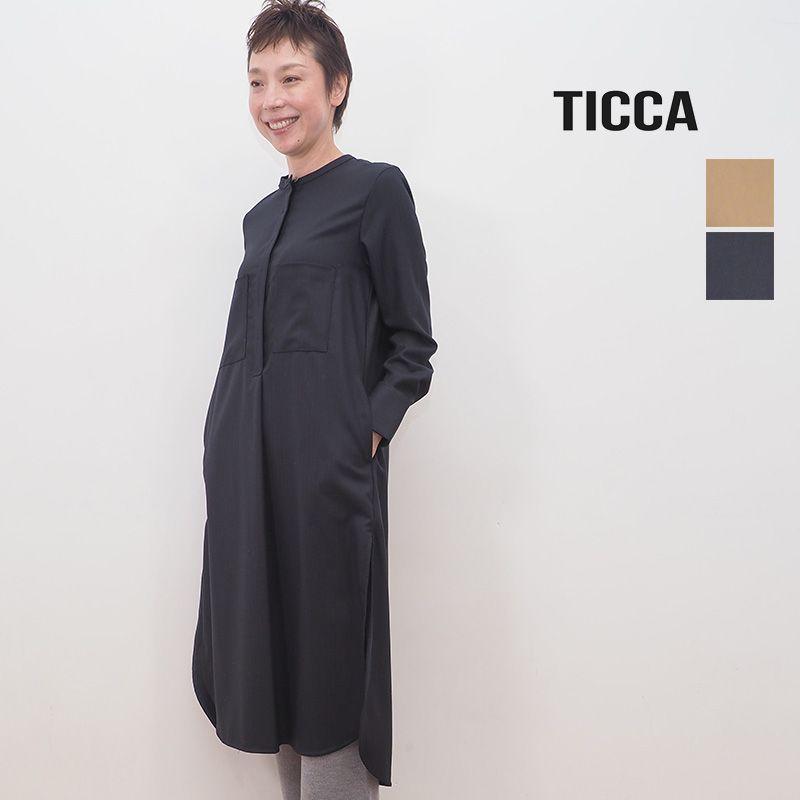 【40%OFF】TICCA ティッカ TBKA-213 へリンボーン ノーカラーウールシャツワンピース | 20AW 秋冬