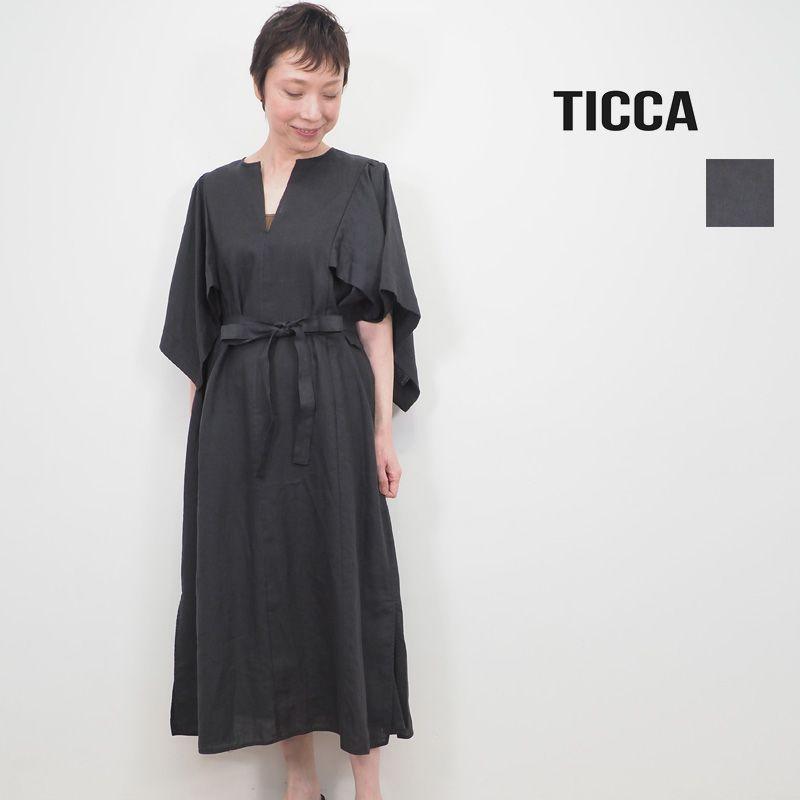 【20SS新作】TICCA ティッカ TBKS-604 フレアスリーブ リネンワンピース   20SS 春夏