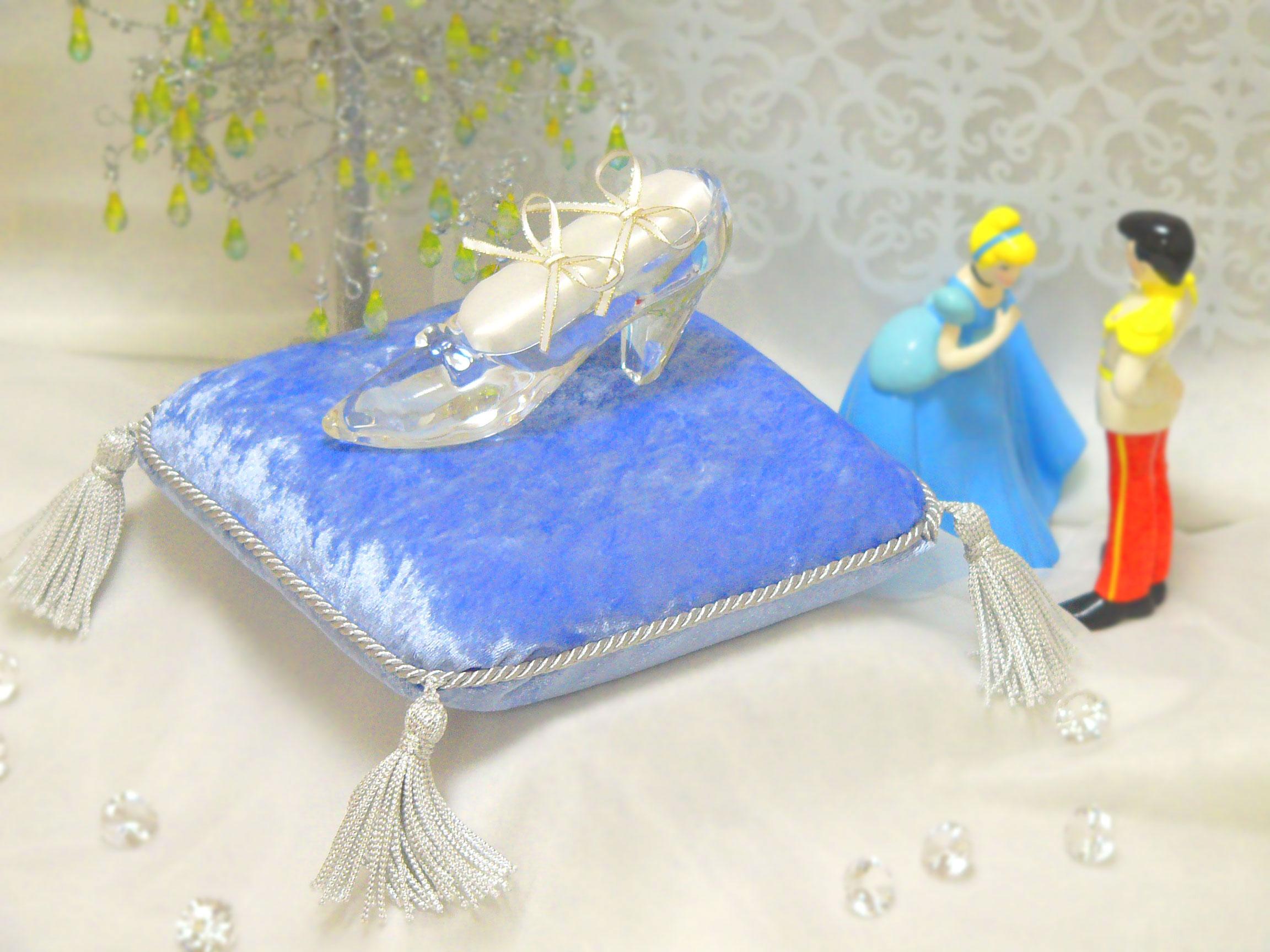 ガラスの靴 オプション リングピロー&シンデレラ台座セット・ベイビーブルー
