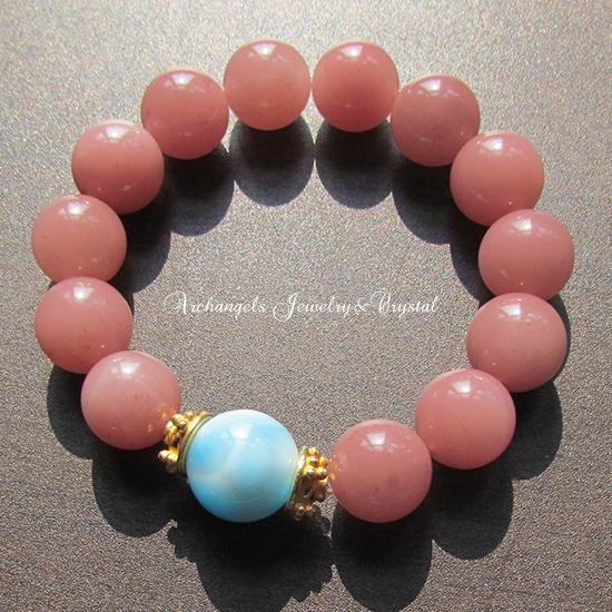 天然石 パワーストーン| ラリマー ピンクグァバクォーツ ブレス