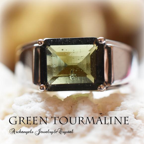 天然石 パワーストーン|グリーントルマリン トルマリン リング 指輪 シルバー925 アーキエンジェルズ