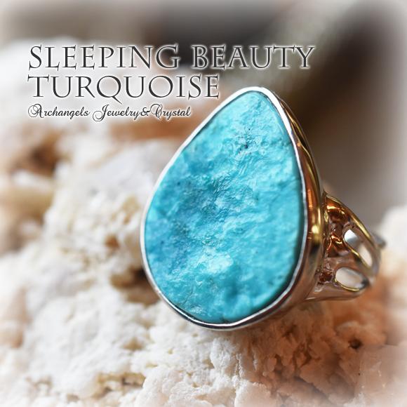 天然石 パワーストーン|アリゾナ産 ターコイズ スリーピングビューティー鉱山 リング 指輪 silver925 15.5号 アーキエンジェルズ