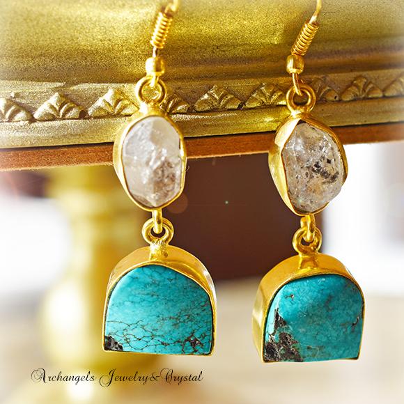 天然石 パワーストーン|ハーキマーダイヤモンド ターコイズ デザイナーズジュエリー パワーストーンピアス イヤリング