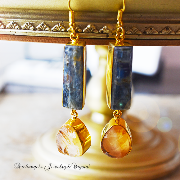 天然石 パワーストーン|カイヤナイト シトリンクォーツ デザイナーズジュエリー パワーストーンピアス イヤリング