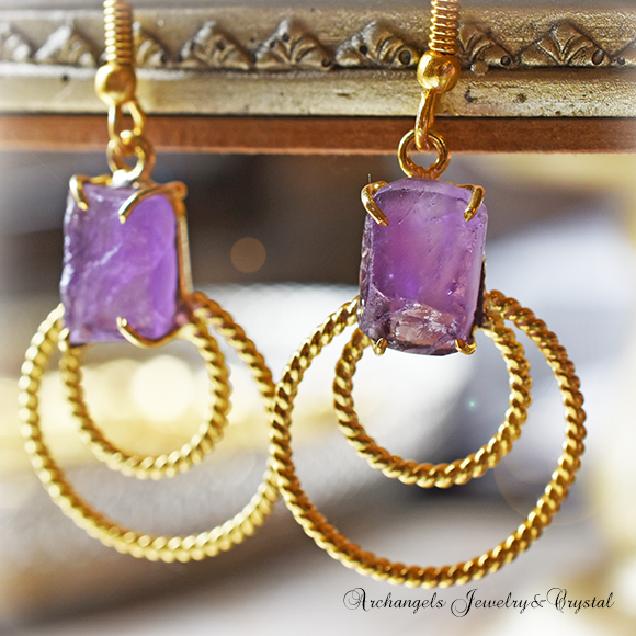 天然石 パワーストーン|アメジスト 紫水晶 デザイナーズジュエリー パワーストーンピアス イヤリング アーキエンジェルズ