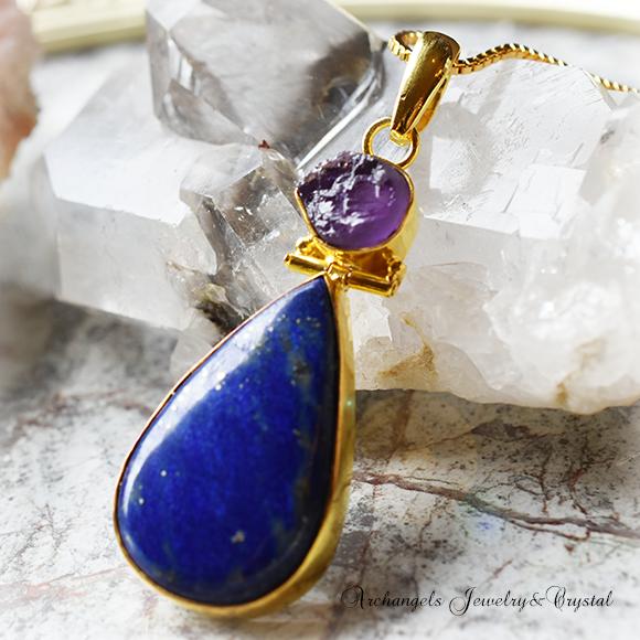 天然石 パワーストーン|アメジスト 紫水晶 ラピスラズリ 癒し 魔除け デザイナーズジュエリー ペンダント アーキエンジェルズ