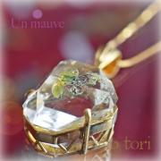 天然石 パワーストーン|オイルインクォーツ 水晶 ペンダント silver925 18K gold plated Un mauve アンモーヴ