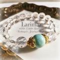 天然石 パワーストーン|ラリマー クリアクォーツ 水晶 ブルーペクトライト ペクトライト ブレスレット