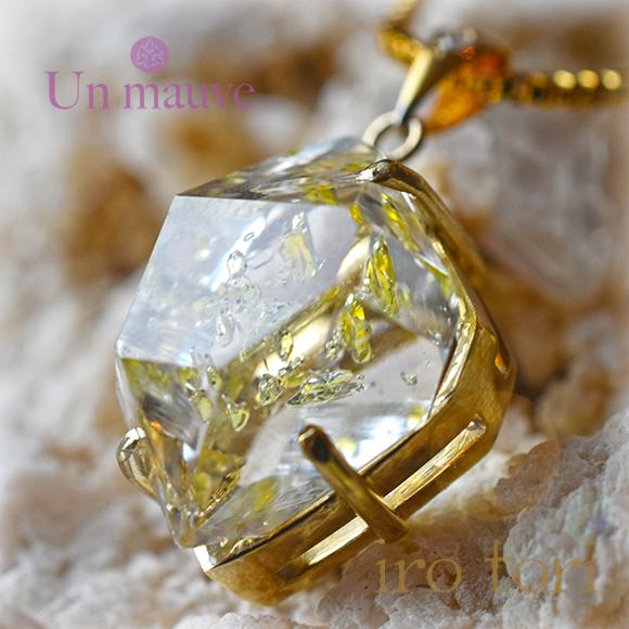 天然石 パワーストーン オイルインクォーツ ダイヤモンド silver925 18K gold plated Un mauve アンモーヴ ペンダント