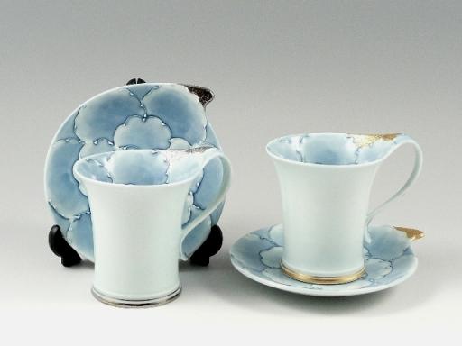 プラチナ牡丹・金牡丹流転 ペアコーヒーカップ&ソーサー