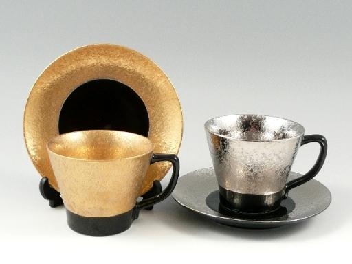 金濃・プラチナ濃黒釉掛分 ペアコーヒーカップ&ソーサー