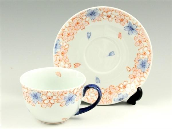 染錦渕桜(青) コーヒーカップ&ソーサー