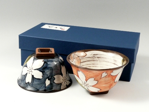 織部濃桜 組茶碗