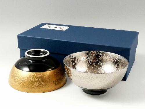 金濃黒釉掛分・プラチナ濃黒釉掛分 組茶碗