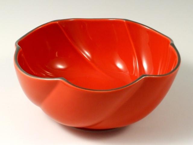 赤釉渕プラチナ捻り多用鉢