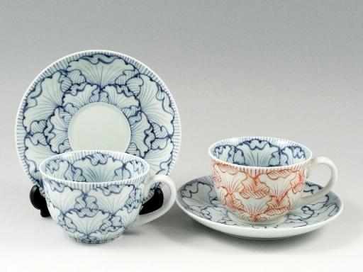 花弁紋 ペアコーヒーカップ&ソーサー