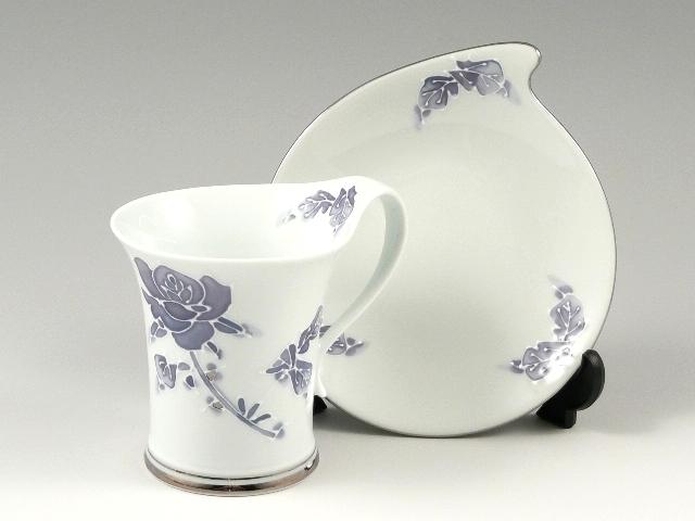 バラ(紫)流転型 コーヒーカップ&ソーサー