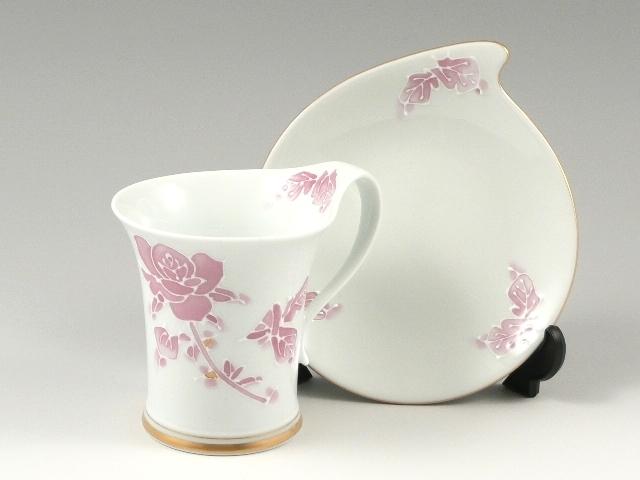 バラ(マロン)流転型 コーヒーカップ&ソーサー