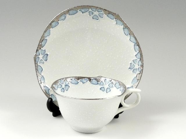 プラチナ呉須桜輪花浅型 コーヒーカップ&ソーサー