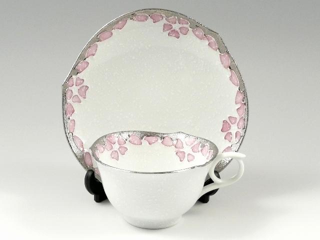プラチナピンク桜輪花浅型 コーヒーカップ&ソーサー