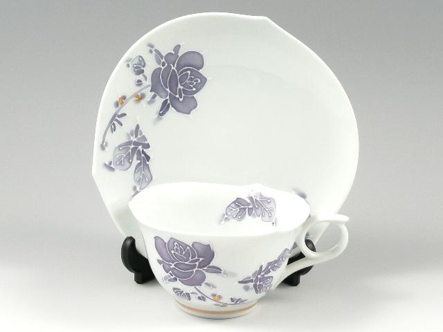 バラ(紫)輪花浅型 コーヒーカップ&ソーサー