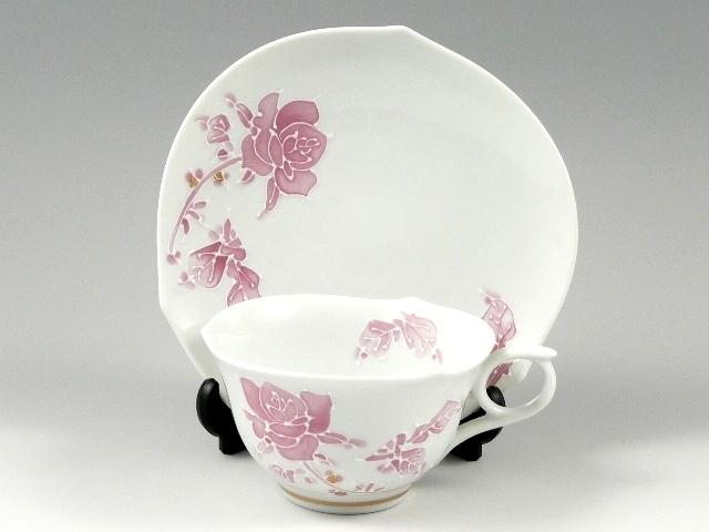 バラ(マロン)輪花浅型 コーヒーカップ&ソーサー