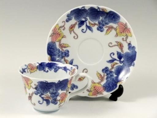 染錦葡萄絵(ピンク) コーヒーカップ&ソーサー