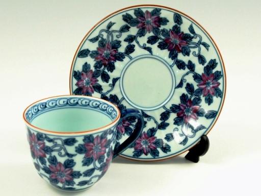 染錦鉄仙花(紫) コーヒーカップ&ソーサー